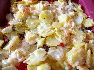 Gratin de pommes de terre aux cèpes et tomates