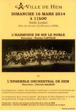 """Harmonie """"Sin le Noble"""", concert le 16 mars 14 à Hem"""