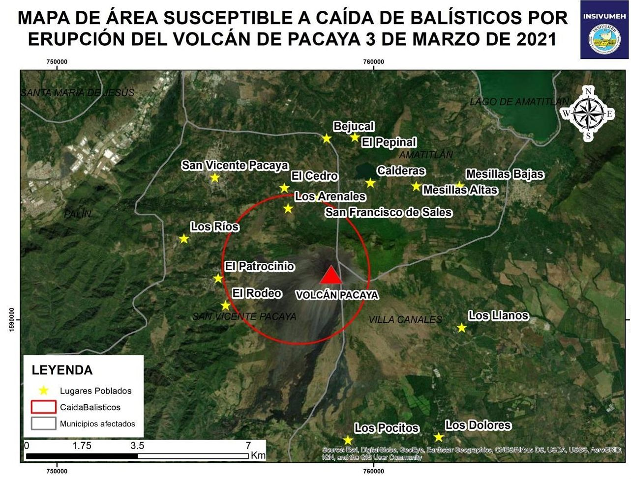 Pacaya - map of possible ballistic fallout as of 03.03.2021 - Doc. Insivumeh
