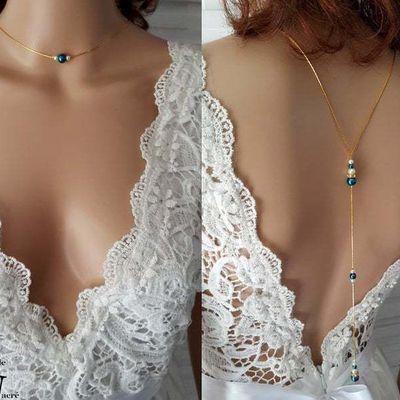 Collier de dos - Anaé - bleu canard paon blanc décolleté plongeant - collier dos nu - chaine serpentine or - collier fin - personnalisable 26,90 €