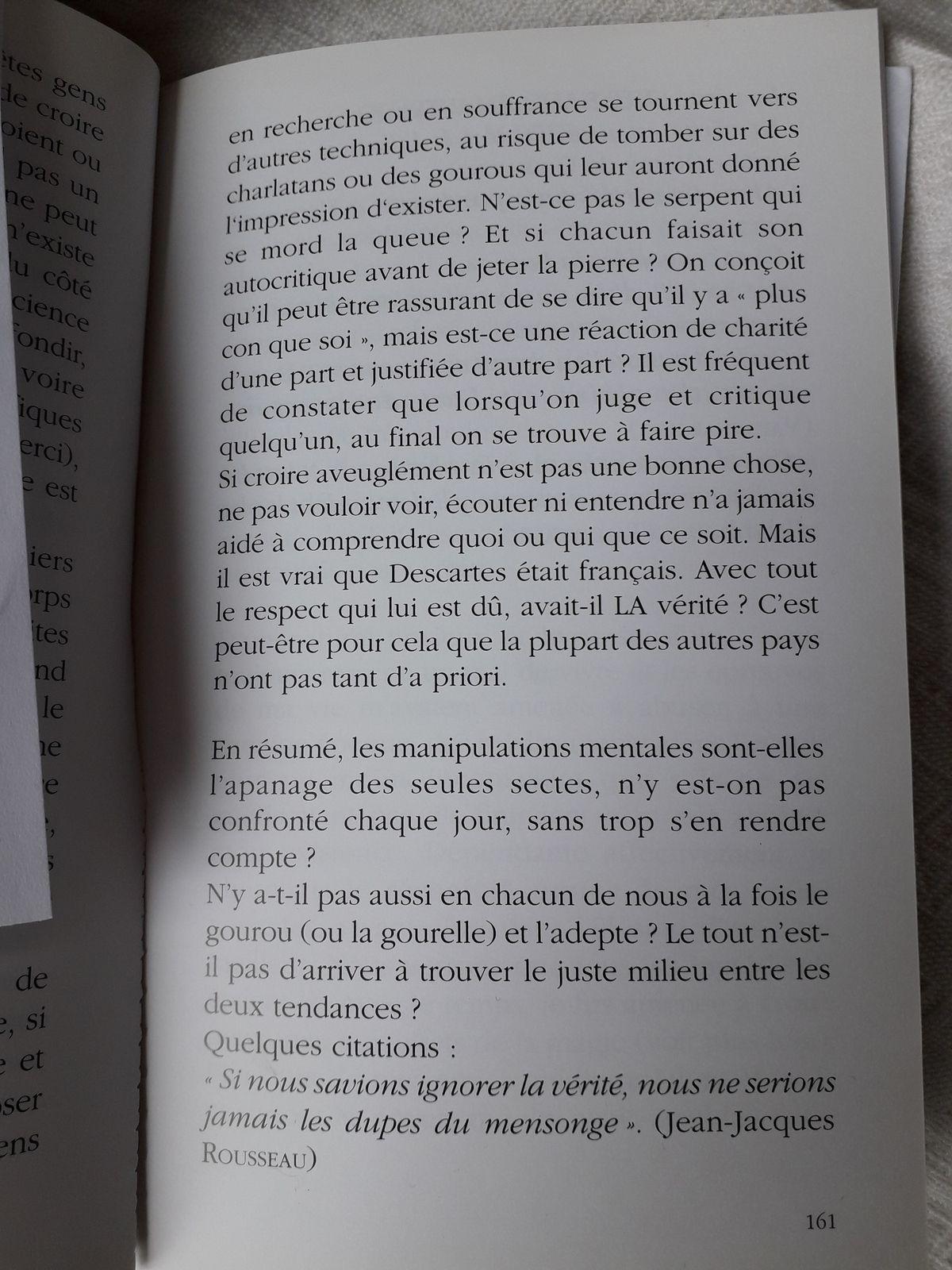 Suite Pluie de Poussières d'Etoiles, page 160 à 164: fin sectes et manipulations, début: magie
