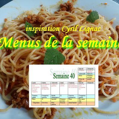 Menus de la semaine 40 (idées repas, planning repas)