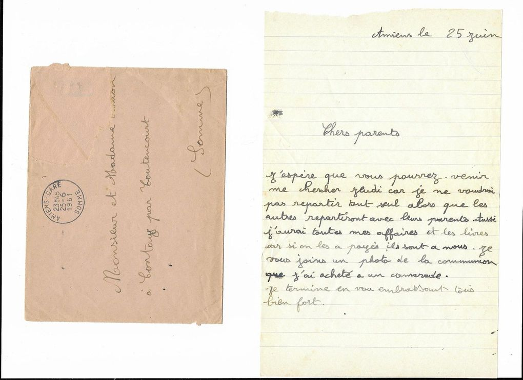Amiens. Lettre à mes parents du 25 Juin 1961. © Jean-Louis Crimon
