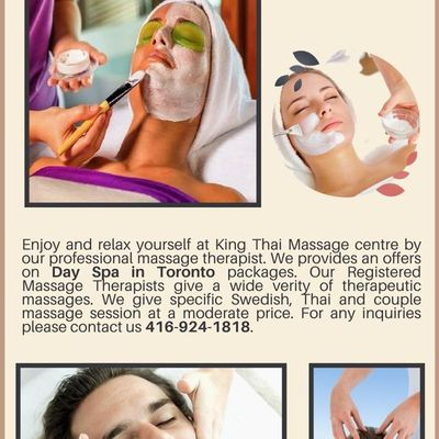 Enjoy the Day Spa in Toronto packages by RMT Therapist in our Centre - King Thai Massage
