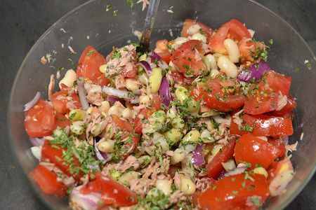 Salade haricots blancs thon  recette cookeo