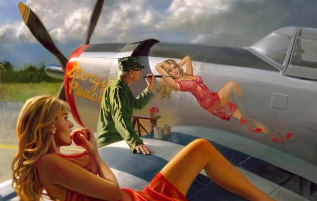 Pin-up sur avion par David Uhl