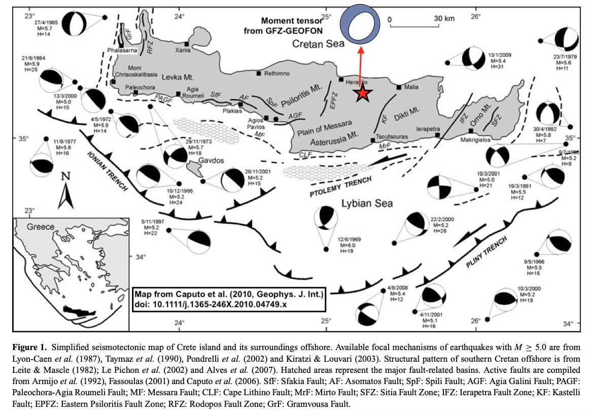 Crete island - - M6 / 27.09.2021 earthquake and localization in relation to faults - Doc. GFZ - Geofon / Caputo & al - one click to enlarge