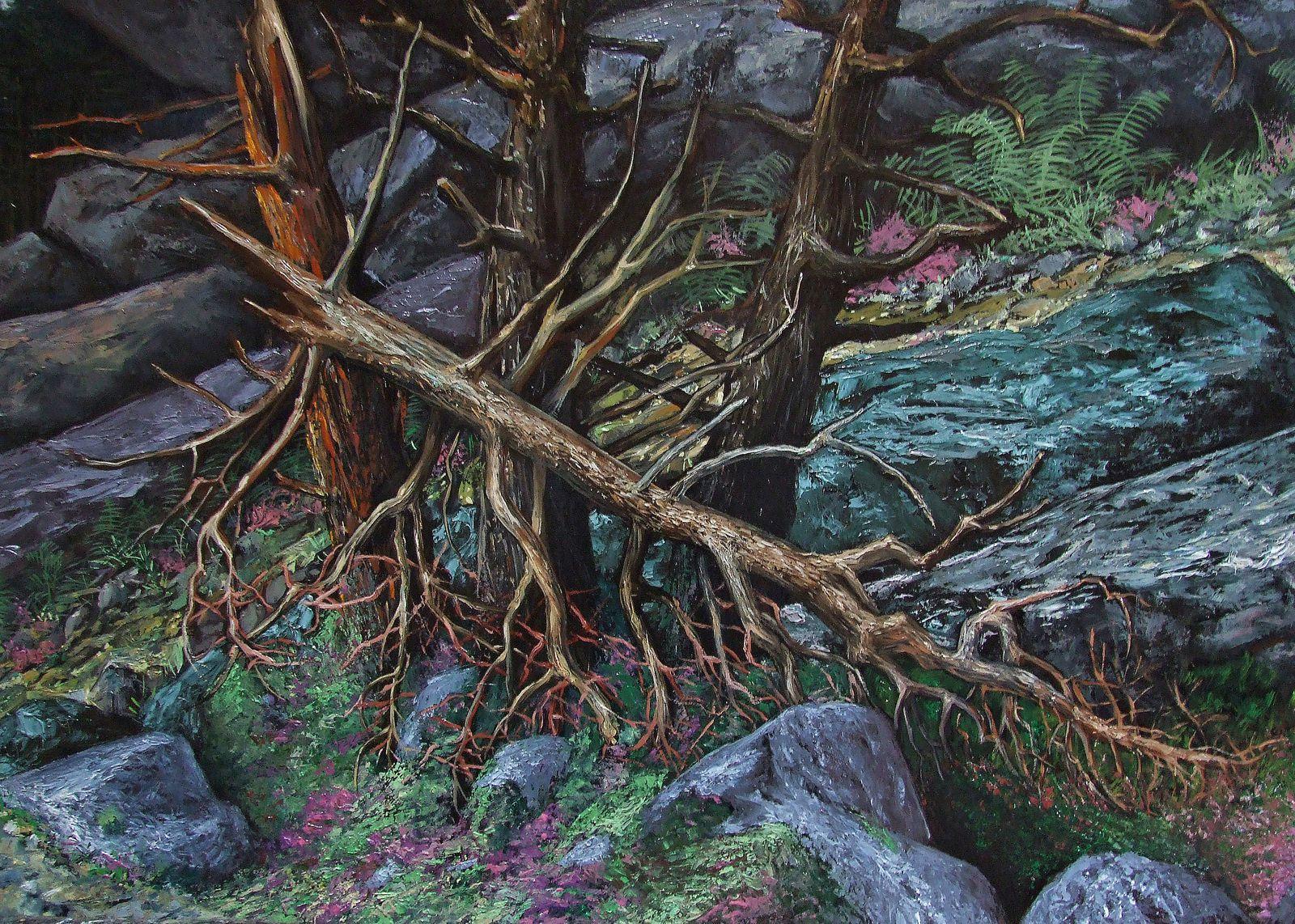 La forêt de Fontainebleau Détail du sapin cassé Huile sur toile 230x113 cm Bhavsar