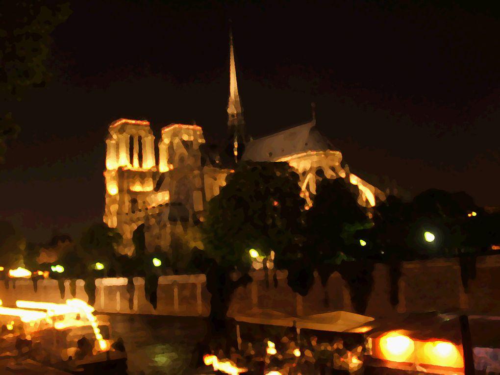 Notre-Dame de Paris, l'hôtel de ville et la tour de l'horloge au palais de justice.