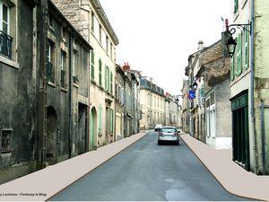La rue Rabelais, avant et après l'effacement des réseaux et les aménagements de surface