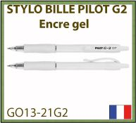 Stylo bille Pilot G2 à encre gel noire avec marquage publicitaire GO13-21G2
