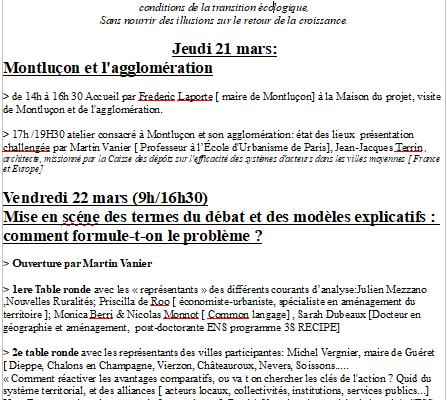 Villes moyennes, crise et renouveau. 21 & 22 mars Montluçon. Inscrivez vous avec le contact de ce blog