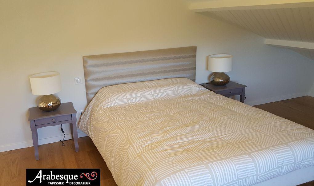 création tête de lit sur mesure arabesque tapissier thiers