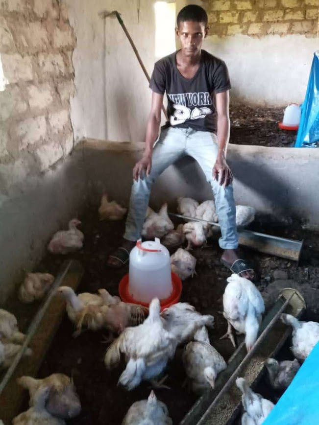 Hassana Diega Baldé du village de Temento Sonkel, bénéficiaire l'an dernier,  a pu créer et développer son élevage de poulets malgré la pandémie de COVID19 et être accompagné dans la création de son entreprise par son parrain Mamadou M Daye.