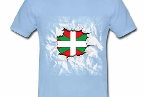 T shirt Pays Basque bleu c homme 64 Drapeau basque Design