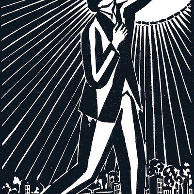 Frans Masereel. — « Le Soleil », 1919. Une gravure sur bois représentant Karl Liebknecht. En contre-point à Rosa Luxemburg