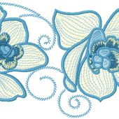 Orchids for towels embroidery design