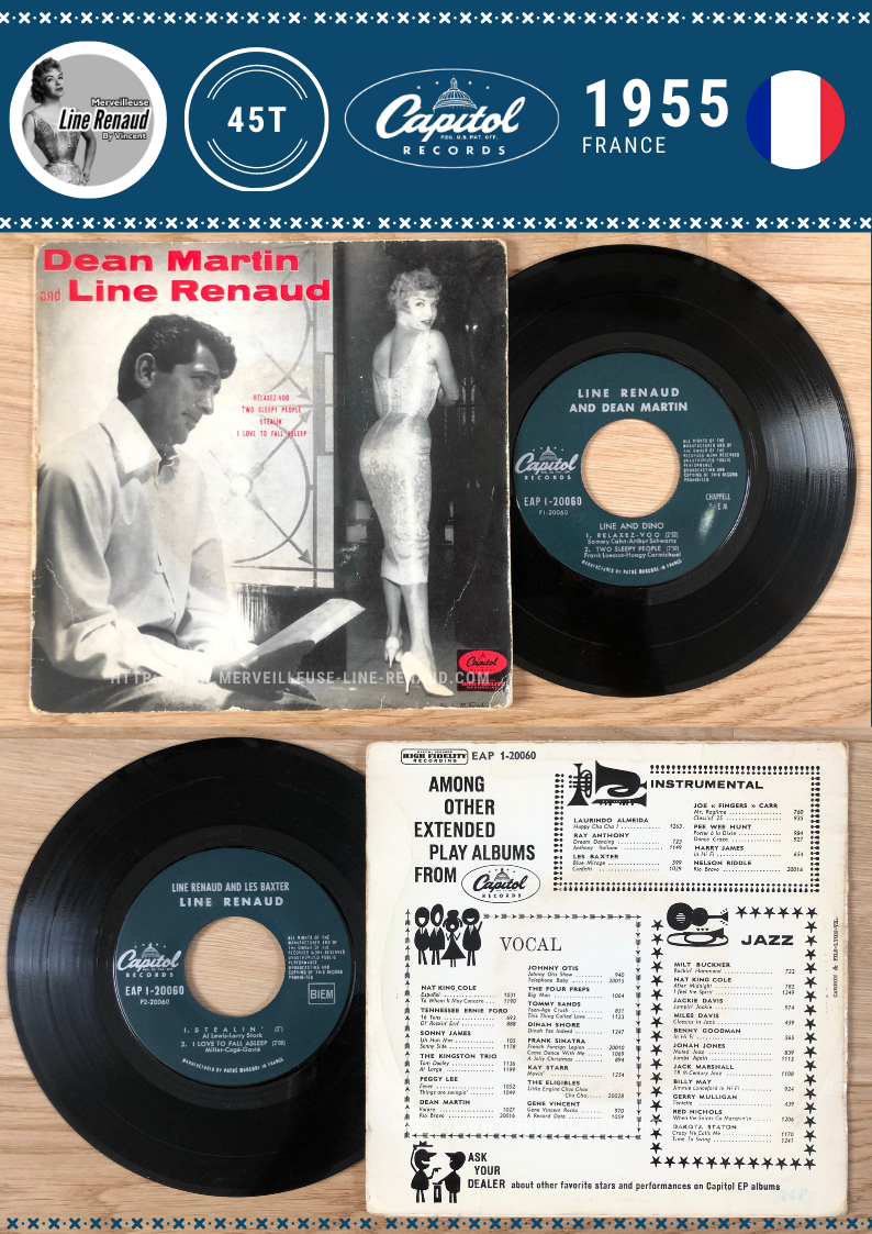 45 TOURS: 1955 Capitol - EAP 1-20060 - Dean Martin and Line Renaud