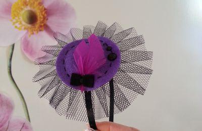 Serre tête noir, violet et rose flushia