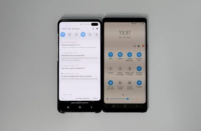 Comparatif Samsung Galaxy S10+ vs Samsung Galaxy Note 9 : empreinte digitale à ultrason, PowerShare, resolution 3040×1440 ...