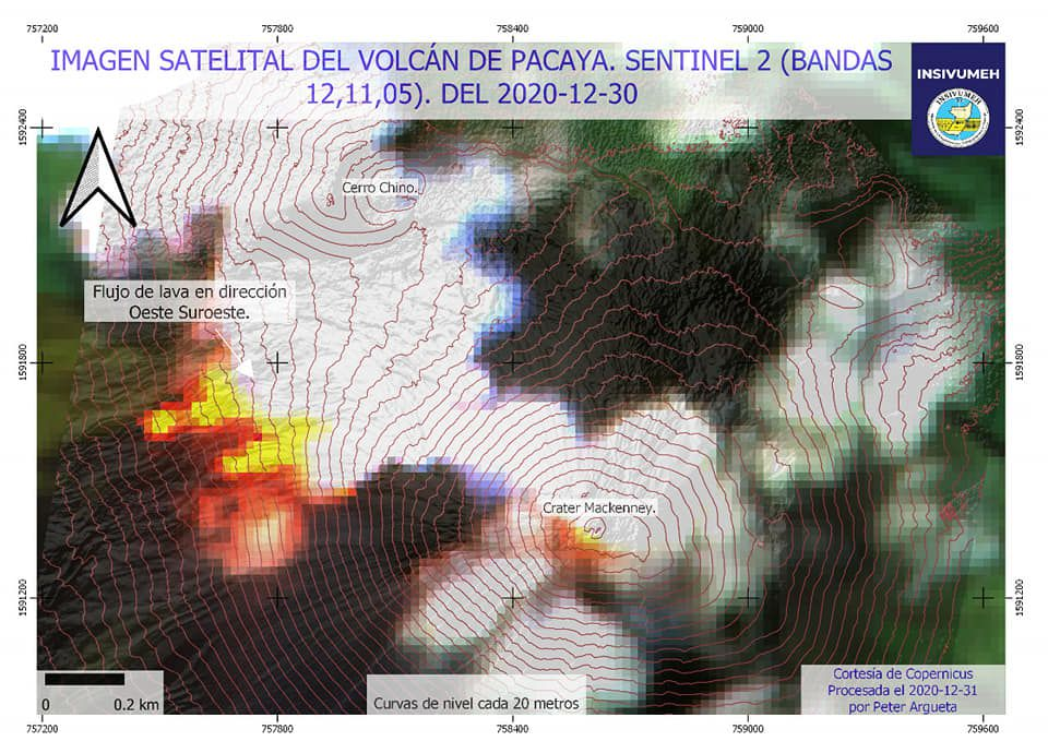 Pacaya - 30.12.202  - image  Sentinel-2 bands 12,11,5 - Doc. Insivumeh