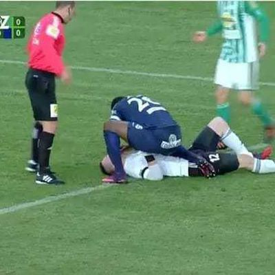 SPORTMANSHIP || Footballer stops opponent from choking on his own tongue (photos)