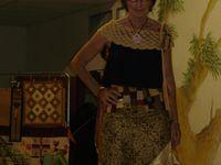 ensemble logcabin décalé - chassuble crazy embellie - jupe avec ceinture petits carrés - veste pliages, crazy, séminole...