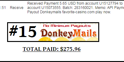 15th payment received from Donkeymails +$5.65 | Total paid $275.96