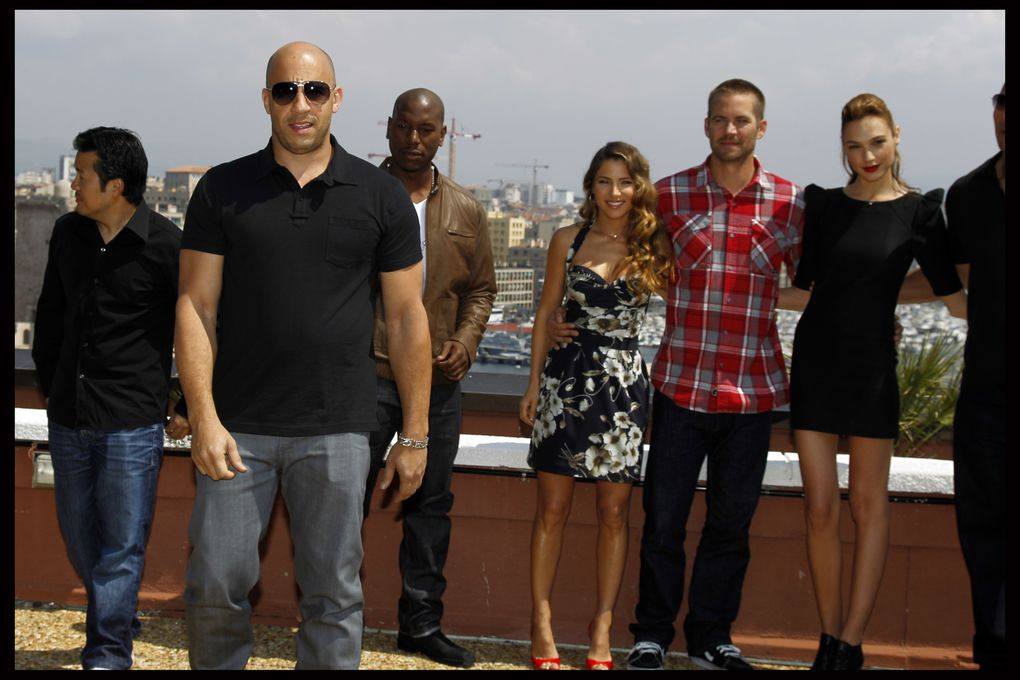 Conférence de Presse et Tapis Rouge Marseille  FAST AND FURIOUS 5 PRESS CONFERENCE SOFITEL MARSEILLES  JUSTIN LIN, TYRESE GIBSON, VIN DIESEL, ELSA PATAKY, PAUL WALKER, GALE GADOT, DWAYNE JOHNSON FAST AND FURIOUS 5
