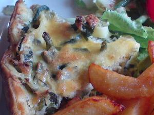 Quiches aux haricots verts et frites au couteau