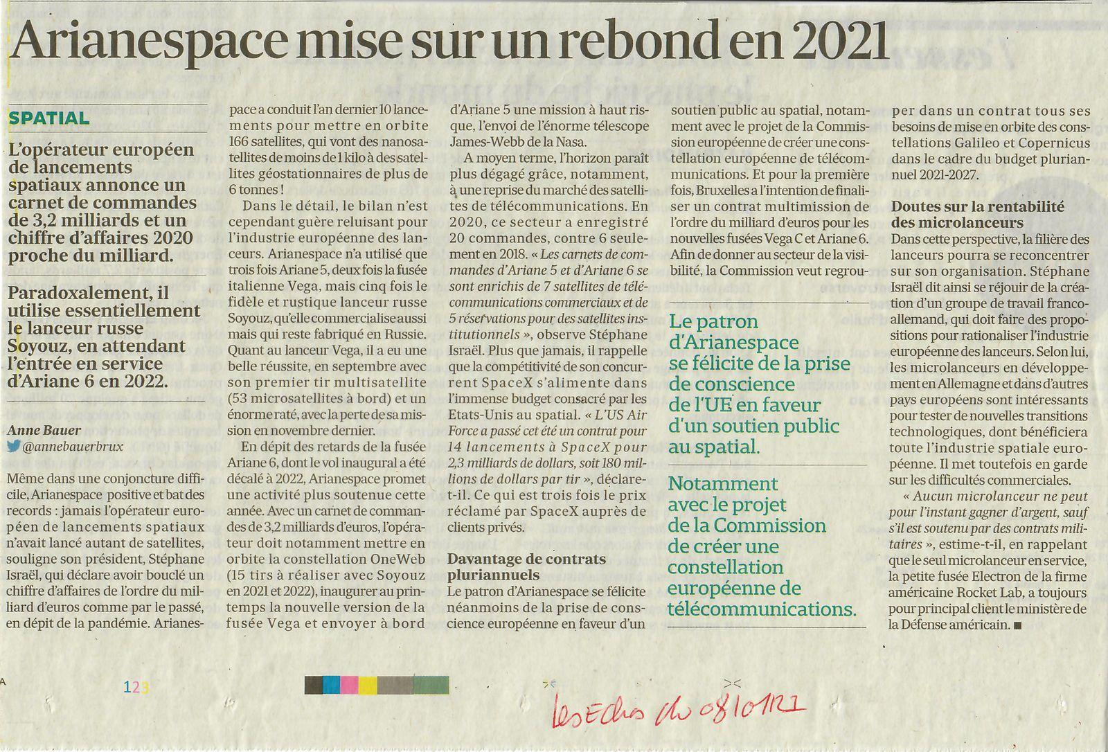 Vus et lus dans Les echos du 08/01/21 et du 26/02/21