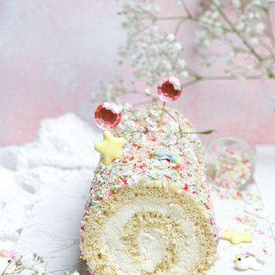 Roulé Funfetti à la vanille et noix de coco