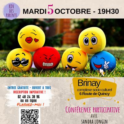 """Conférence """"Accueillir les émotions de l'enfant avec la communication NonViolente"""" le 5 octobre à Brinay"""