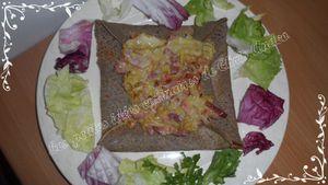 Crêpes au sarrasin fourrées aux poireaux, lardons et mozzarella