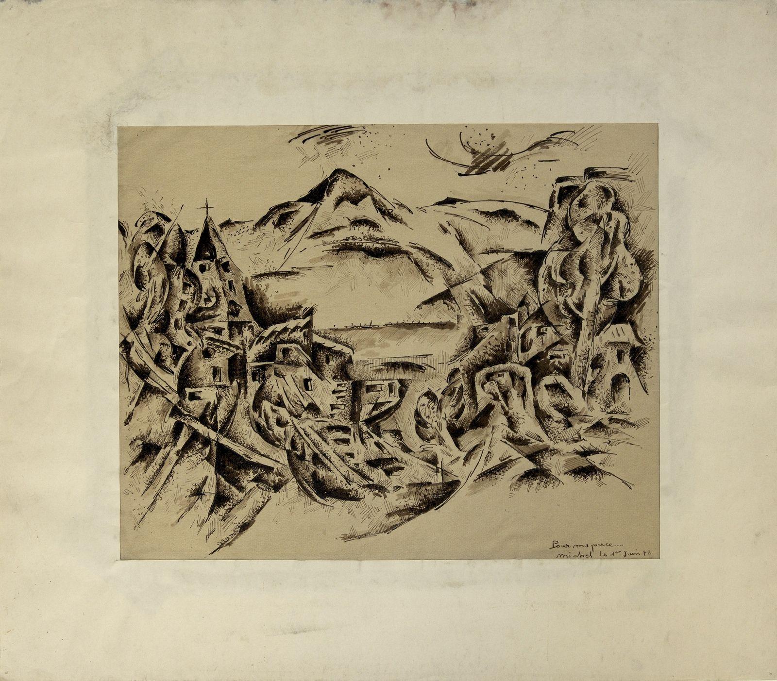 gravure de Michel Bories, artiste peintre, enfant du village, 1973, décédé à Cuba, le 19 septembre 2001