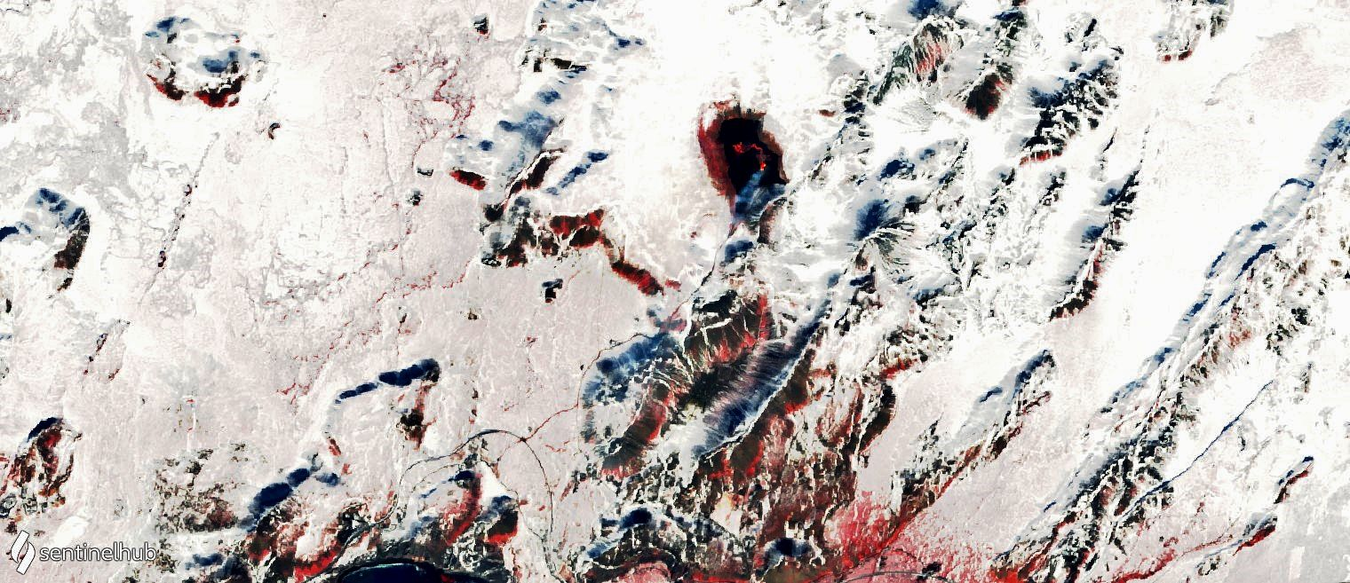 Geldingadalgos - eruption and access from road and trail - image Sentinel Hub 03.30.2021 bands 8,4,3 - one click to enlarge
