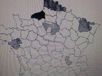 Carte France rejets dioxyde de soufre. Recommandations sanitaires. Origine Donges pollution soufrée
