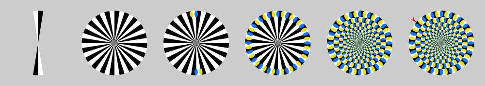 une suite de ronds avec des secteurs blancs et noirs sur lesquels on place des ellipses jaunes et bleues