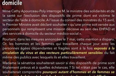 Prime Covid-19 pour les aides à domicile : Cathy Apourceau-Poly interpelle le ministre de la santé