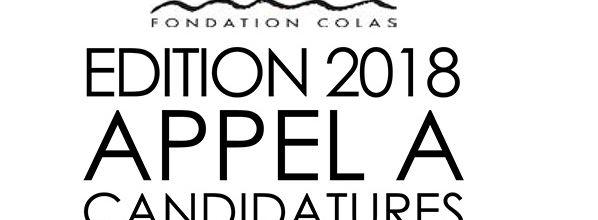 Appel à candidatures de l'édition 2018 de la Fondation Colas