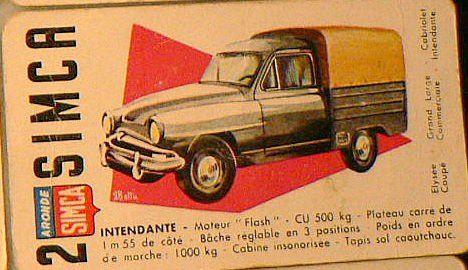 Cartes du jeu du salon de l'auto (jeu des sept familles avec des voitures des années cinquante)