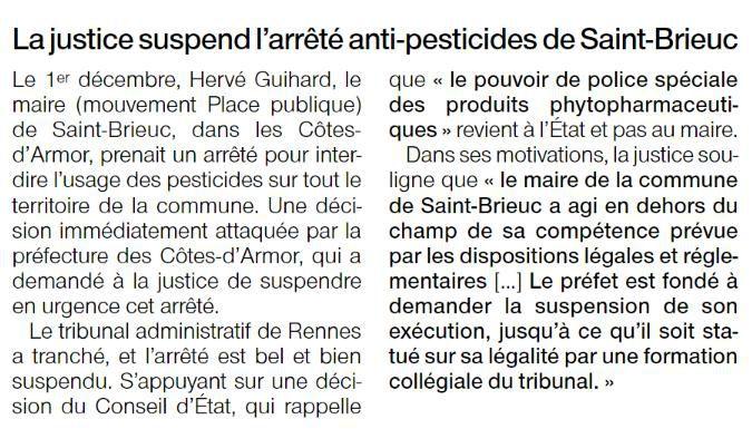 Arrêté Anti-pesticides annulé !