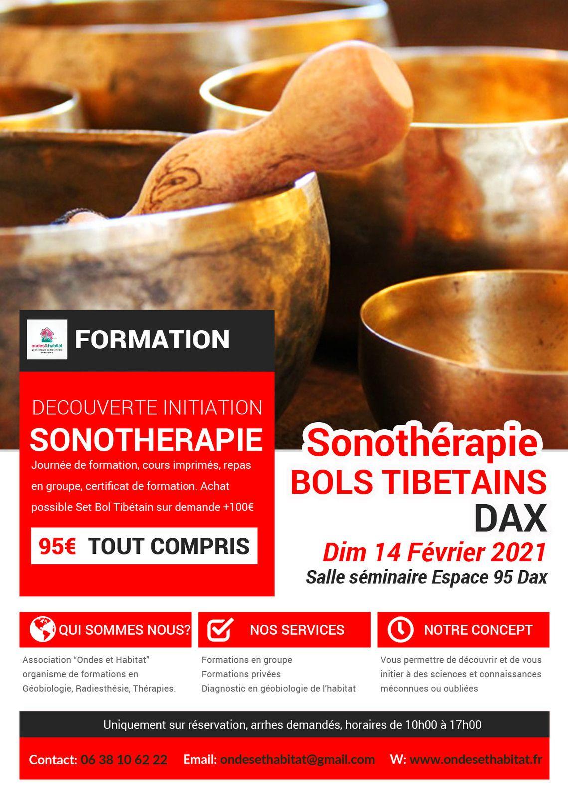 """DAX- Formation Sonotherapie """"BOLS TIBETAINS, utilisation CORPS et CHAKRAS"""" Dimanche 14 Février 2021"""