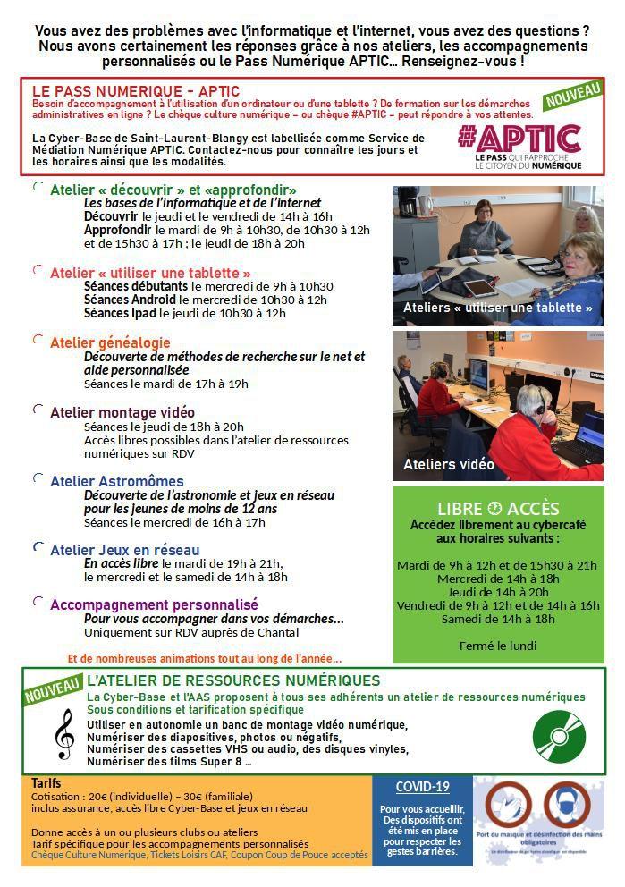Activités de la Cyber-base de Saint-Laurent-Blangy 2020-2021