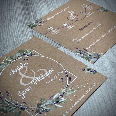 Le faire part de mariage d'Aniela & Jean-Philippe ... thème provençal (lavande et eucalyptus)