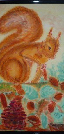 L'écureuil de Nanou en peinture sur soie...