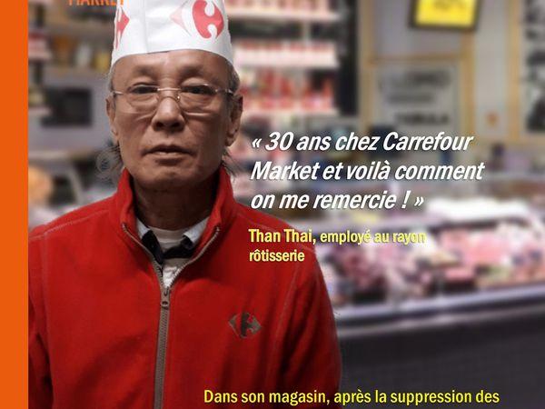 Grève CFDT à Chateau Thierry, le jour de l'annonce d'Alexandre Bompard.