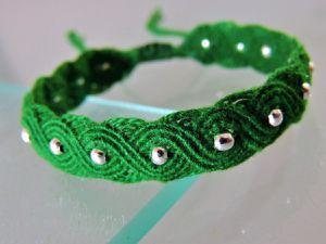 bracelet macramé vagues éternelles vert perle argenté