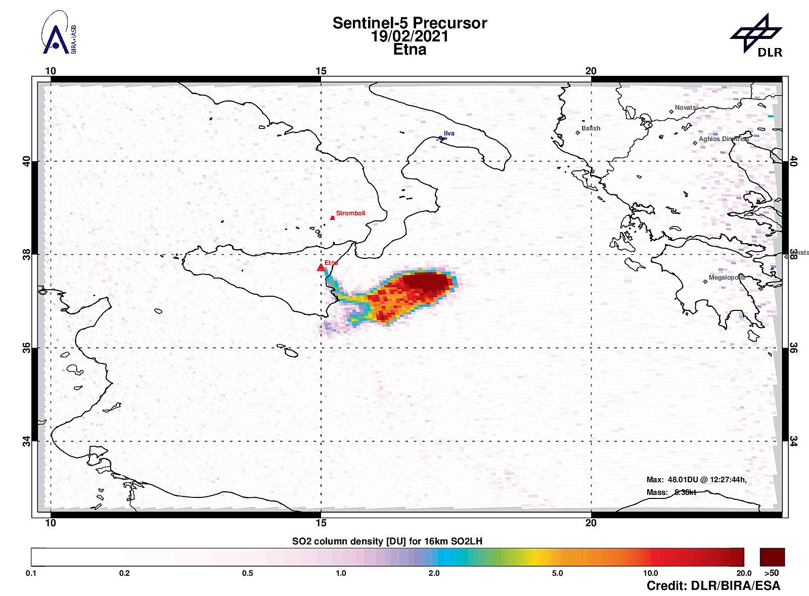 Etna - a strong sulfur dioxide signal is detected near Etna, with 47.87 DU of SO2 at an altitude of about 16 km on 02/19/2021 - Doc. Tropomi
