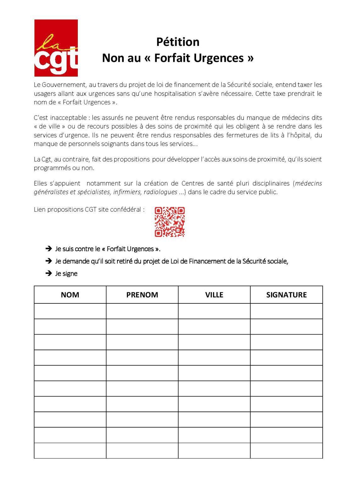 CGT : Pétition NON au forfait urgences ...